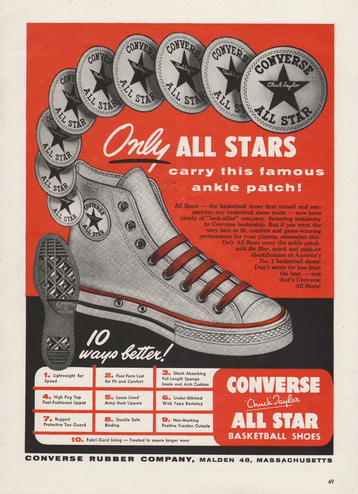 Old Converse advertisement with the introduction of color in print.