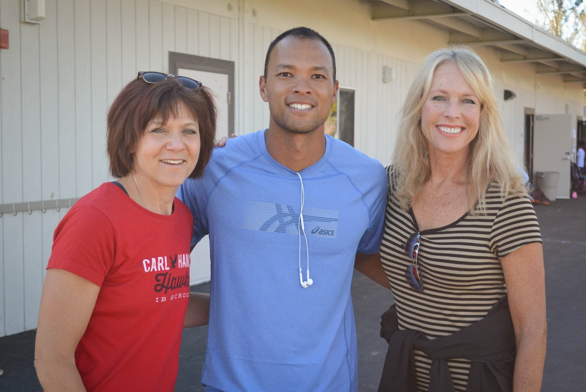 Palling Around with World Champion Decathlete Bryan Clay & Principal Dana Aguilera