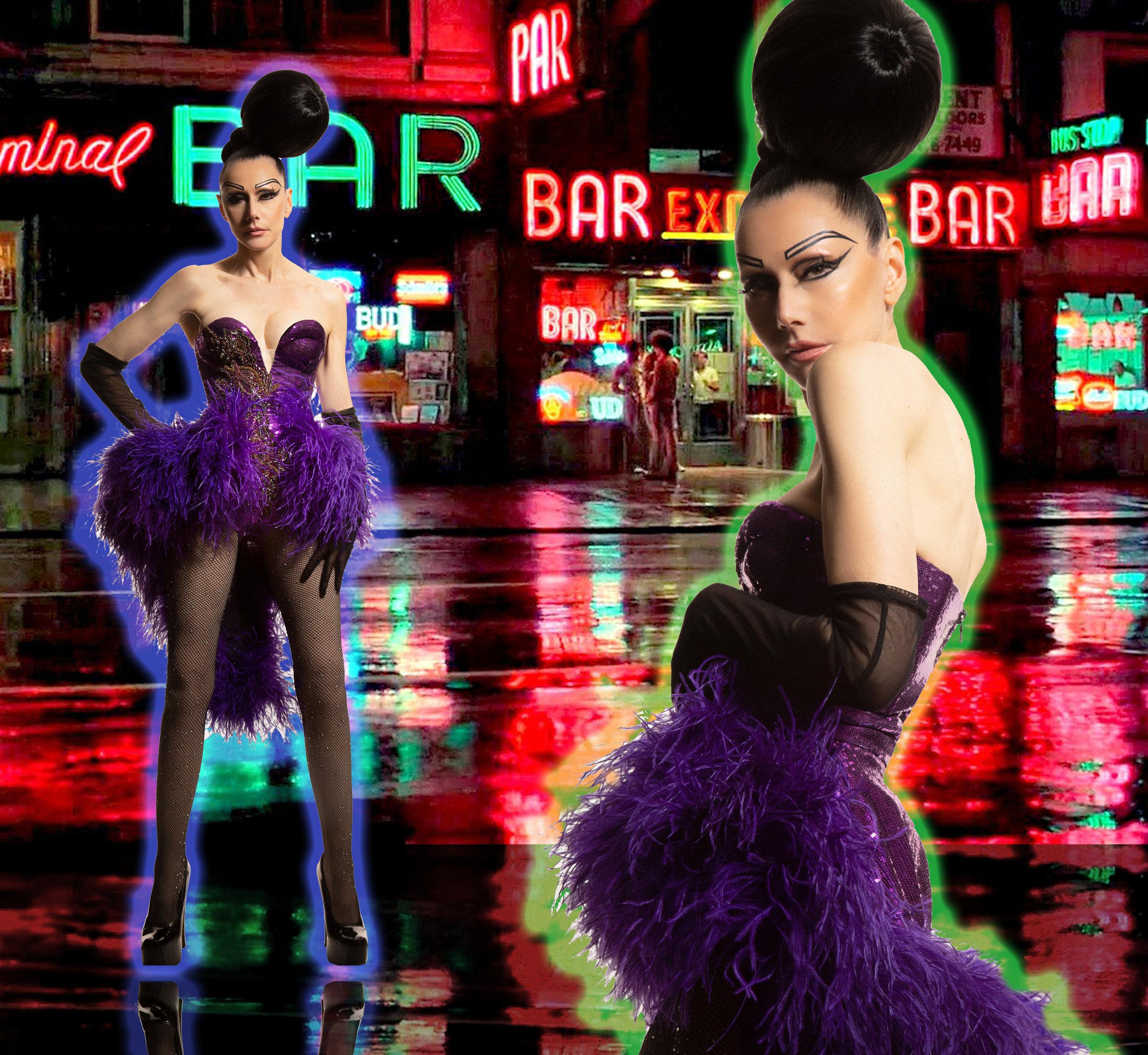 7 Purple Feather hem Dress.jpg