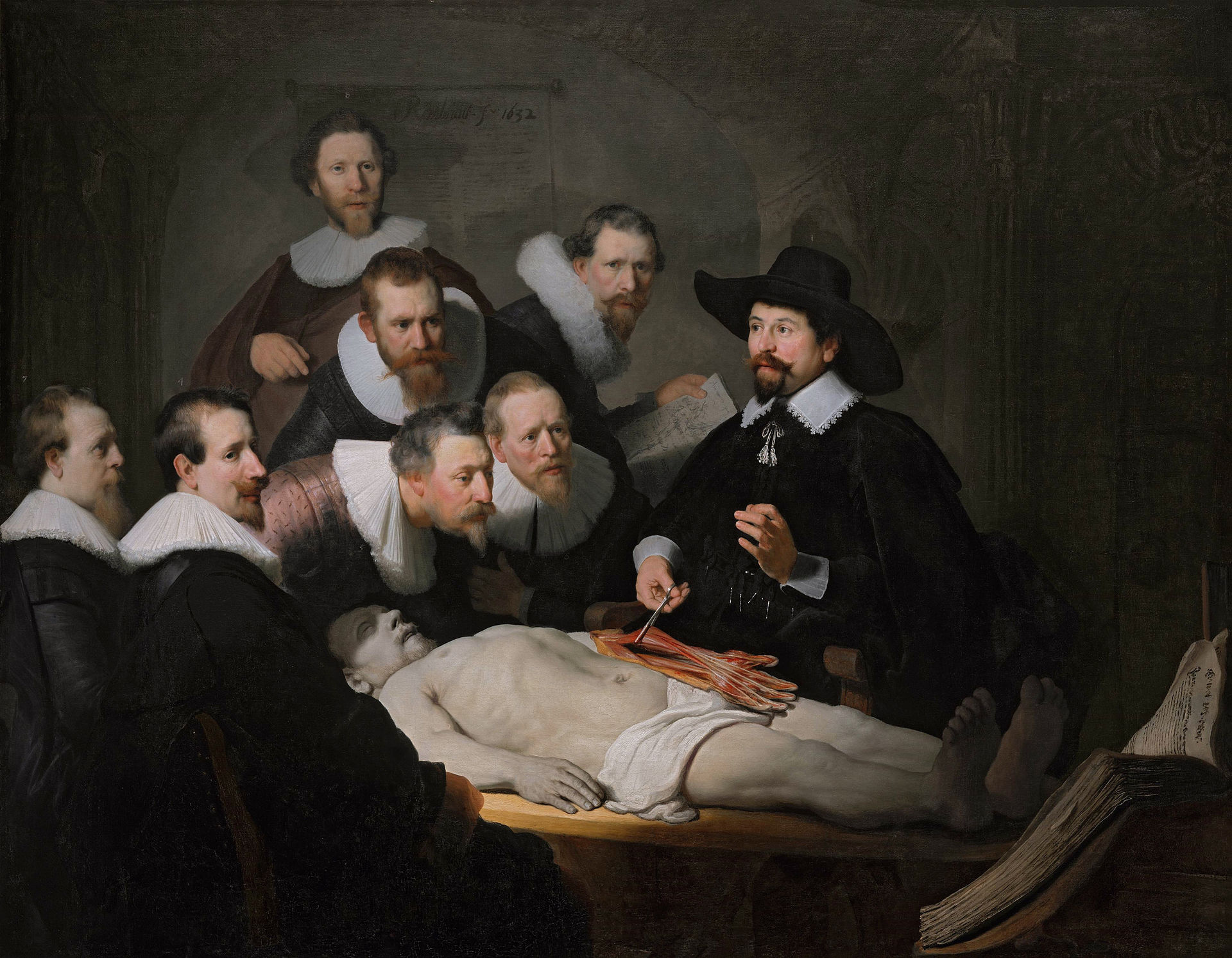 The Anatomy Lesson of Dr Nicolaes Tulp,  Rembrandt, 1632, oil on canvas.