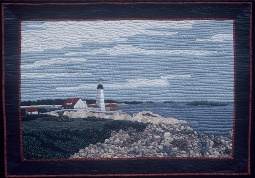 """Cape Elizabeth,"" a finished quilt started in the ""Layered Landscapes"" workshop."
