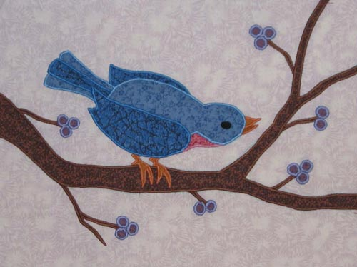 """Bluebird,"" made in the ""Fusible Thread Applique"" workshop."