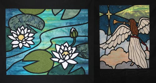 """Water Lilies"" and ""The Herald,"" projects for the ""Fusible Thread Stained Glass"" workshop."