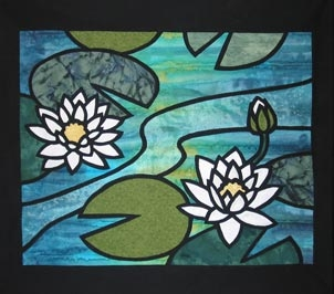 """Water Lilies"" from the  Fusible Thread Stained Glass  workshop."