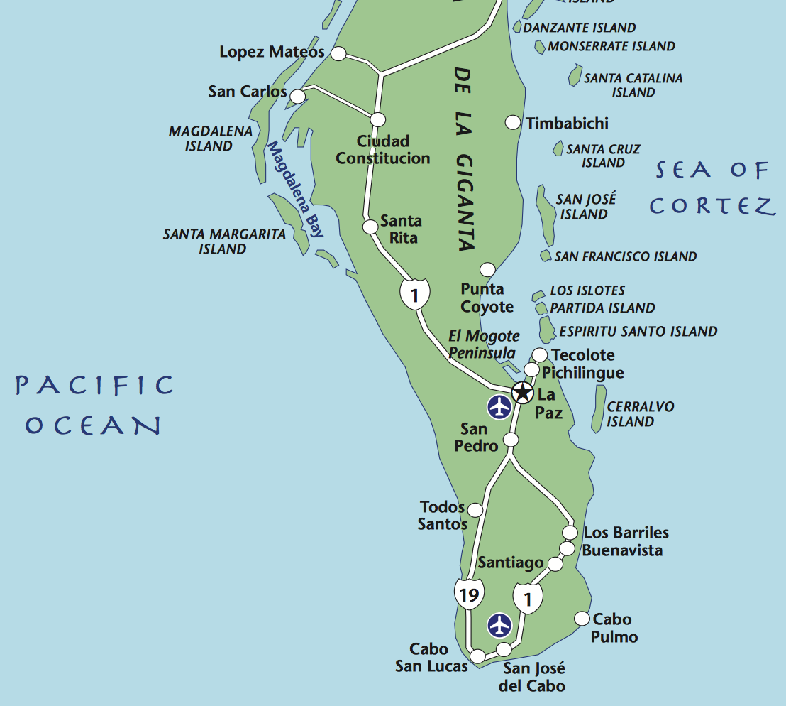 Magdalena Bay is about 6 hour drive from todos santos traveling towards la paz first and then back across the peninsula to the pacific side. this is the destination for  Explora baja  whale watching trips (are usually over-night trips). available only in Jan. and feb.