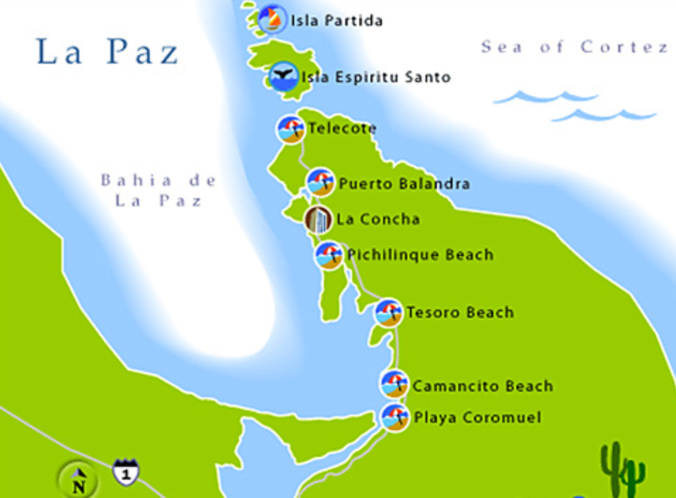 Bay of La Paz . about 1 hour to drive to beaches/sea near La paz from todos santos.  Explora baja  offers transportation shuttle.