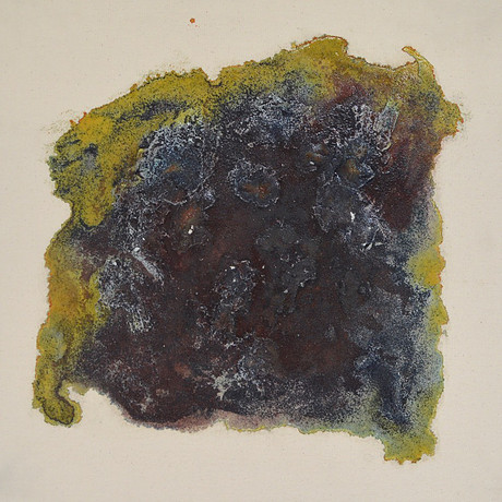 Potassium Ferricyanide, Metal and Clay on Canvas (2015)