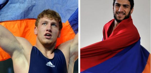 Wrestlers Artur Aleksanyan, left, and Mihran Harutyunyan