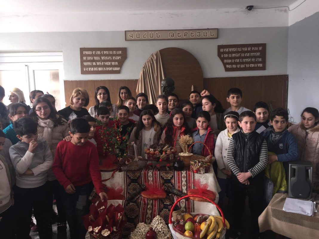 The students of Vahan Tekeyan School No. 92 of Yerevan celebrated the holiday of Dearnentarach, or the Presentation of Jesus Christ at the Temple in Jerusalem, on February 13, 2019, concluding with the traditional jumping over a bonfire.