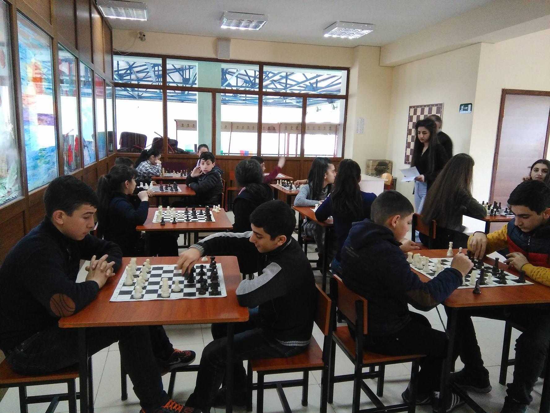 Chess matches at the Vahan Tekeyan School No. 6 of Stepanavan in March 2018