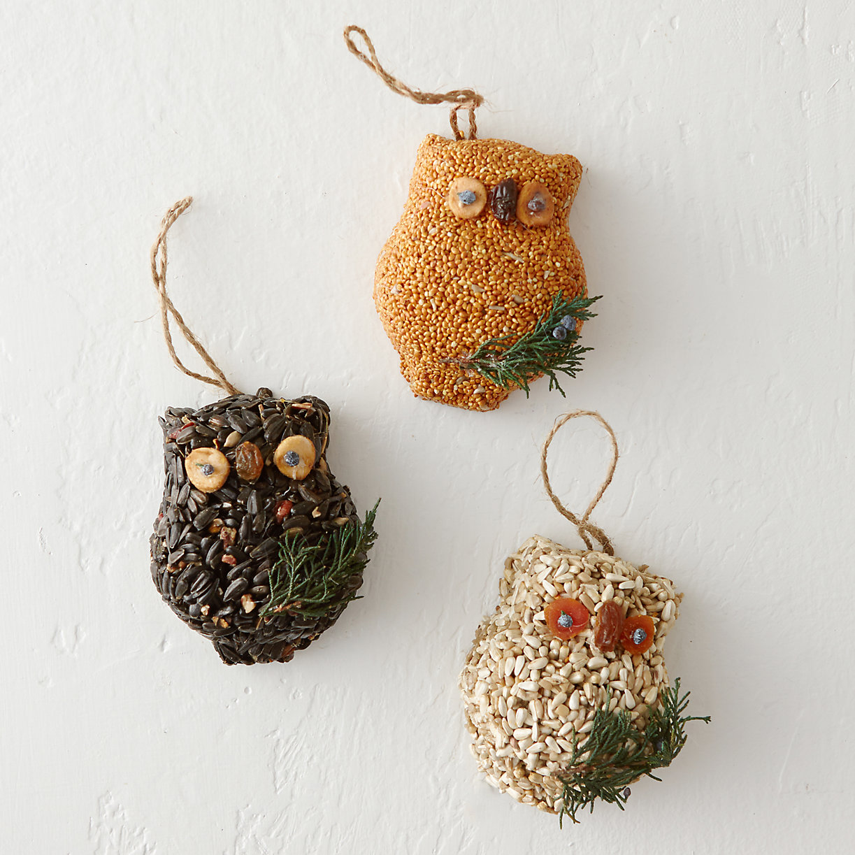 Birdseed owl trio, $24