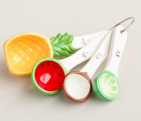 World Market tropical fruit ceramic measuring spoons, $6.99