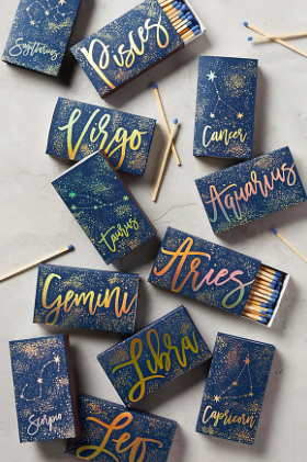 Zodiac matches, box of 60 matches (select zodiac sign of choice), Anthropologie, $11
