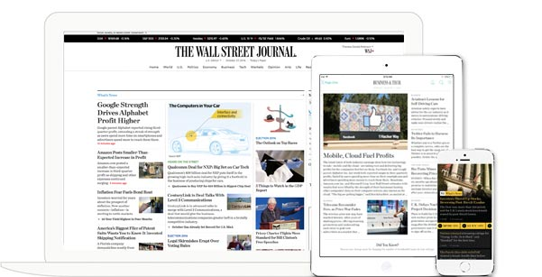 The Wall Street Journal, 6 month print and digital subscription, $99