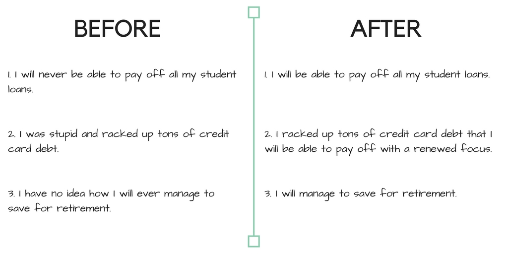Here's an example of a before and after list.