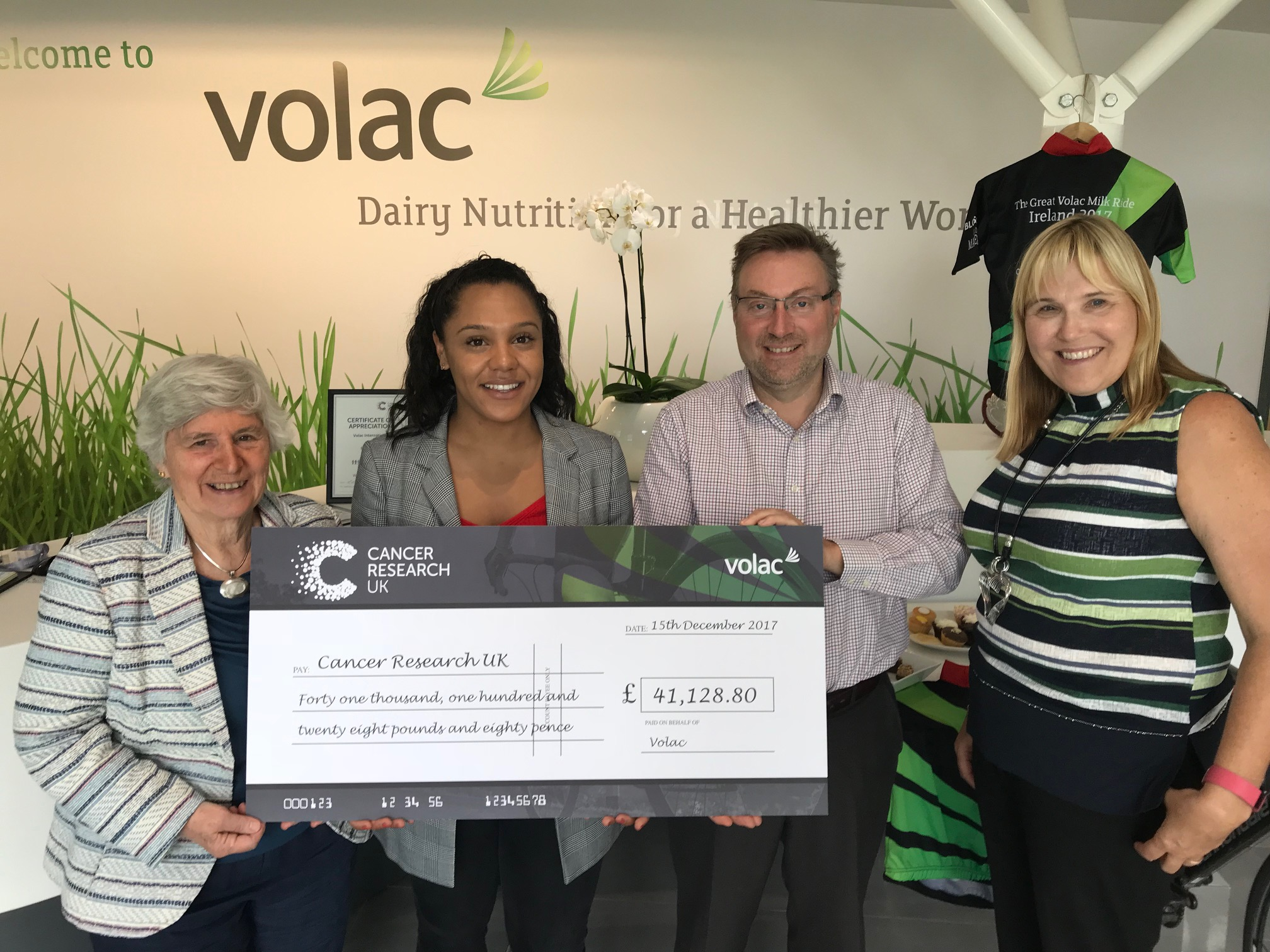 From L-R are pictured: Jane Neville (The Betty Lawes Foundation), Cally Cardines (Cancer Research UK), David Neville - Managing Director – Animal Nutrition (Volac), and  Jackie Bradley- Regional Product Manager – Animal Nutrition (Volac).
