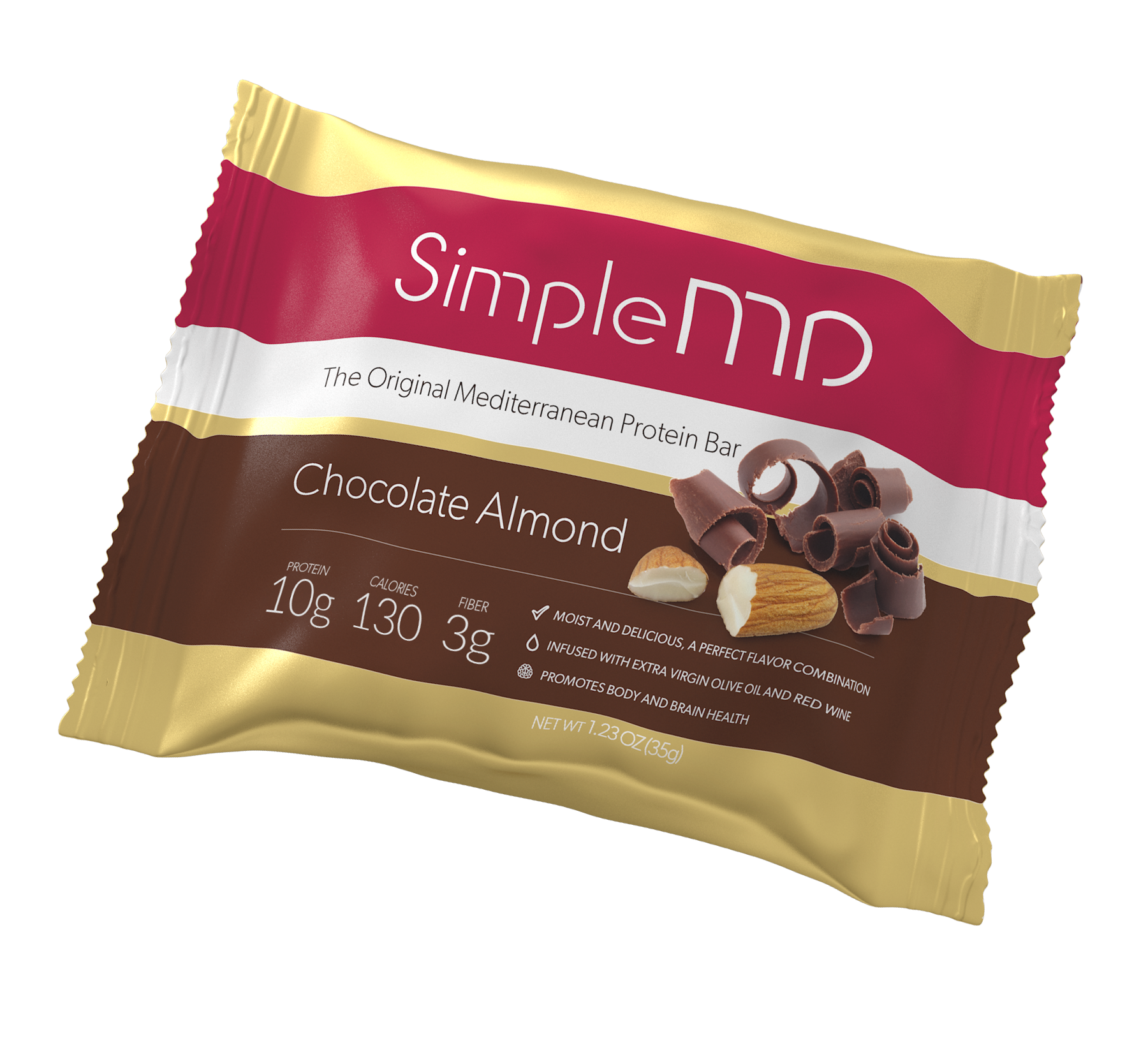 Milk chocolate on the outside, almond crunch on the inside, great flavor all over. Satisfy your craving for chocolate, while enjoying 10 grams of protein, 3 grams of fiber in a 130 calorie bar. Made with extra virgin olive oil and Italian red wine. Gluten-free, GMO-free and kosher.