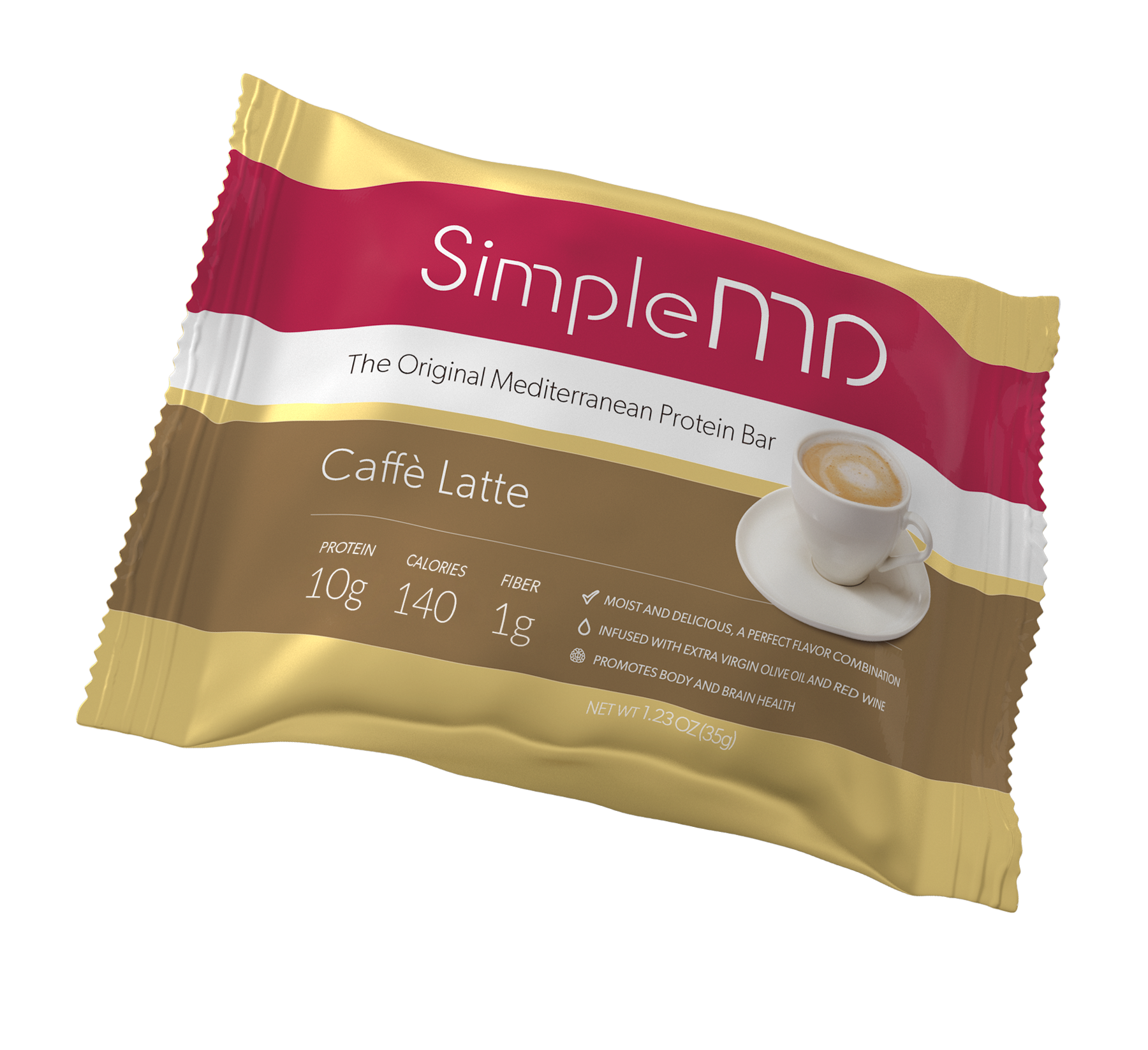 Start your day off with a Latte bar. Made with coffee for an extra kick, the bar's delicate flavor is packed with 10 grams of protein, 1 gram of fiber, and only 140 calories. Made with extra virgin olive oil and red wine. Gluten-free, GMO-free and kosher.