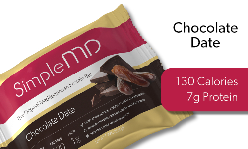 DATES HAVE BEEN CULTIVATED IN THE MEDITERRANEAN REGION FOR THOUSANDS OF YEARS, AND FOR GOOD REASON; THEY TASTE WONDERFUL AND ARE AN EXCELLENT SOURCE OF POTASSIUM AND FIBER. CHOCOLATE DATE HAS 7 GRAMS OF PROTEIN AND  1 GRAM OF FIBER IN A 130 CALORIE BAR.