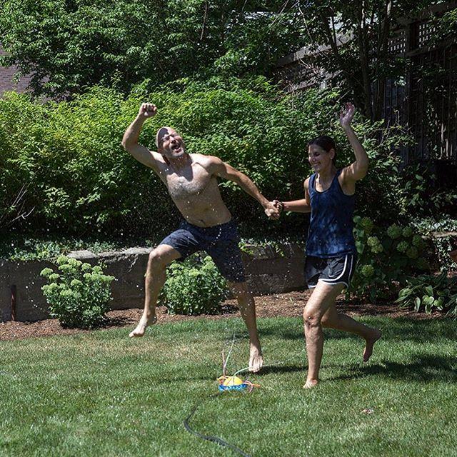 That time @kregholt and @mandsdeaner held hands jumping through a sprinkler. #TBT
