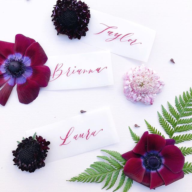 #tbt to these fun vellum place cards with custom burgundy ink! For those curious about how I mix custom ink I made an IG TV video on it a while back. Feel free to check it out! • • • • #moderncalligraphysummit #weddingplacecards #weddingplacesetting #weddingplacecard #calligraphydaily #calligraphydesign #weddinginspiration #weddinginvites #destinationweddings #destinationbride #engaged💍 #engagedlife #engaged #futuremrs #futurewife #futuremrandmrs #huffpostido #weddingidea #weddingideas #sobridaltheory #weddingvendor #weddingplanner #weddingplanning #weddingplanningbegins #flatlaytips #abmlifeisbeautiful #curiouscalligrapher #weddingwire #stylemeprettyweddings