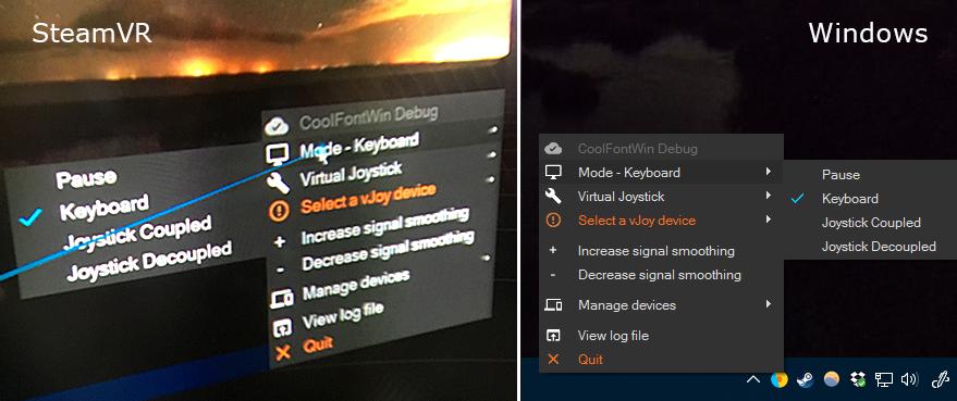 Left: VR interface seen through HTC Vive running SteamVR. Right: Regular Windows interface.