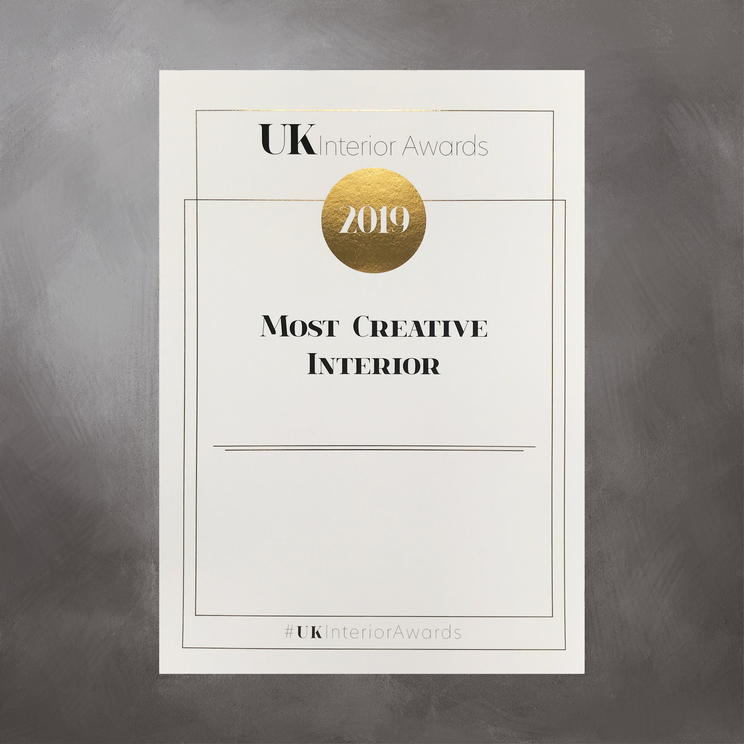 UK Interior Awards 2019 Certificates