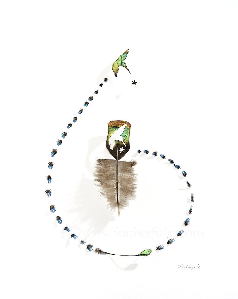 """Emerald Star Star . 15"""" x 12"""" . ocellated turkey feather and tiny feathers from a peacock"""