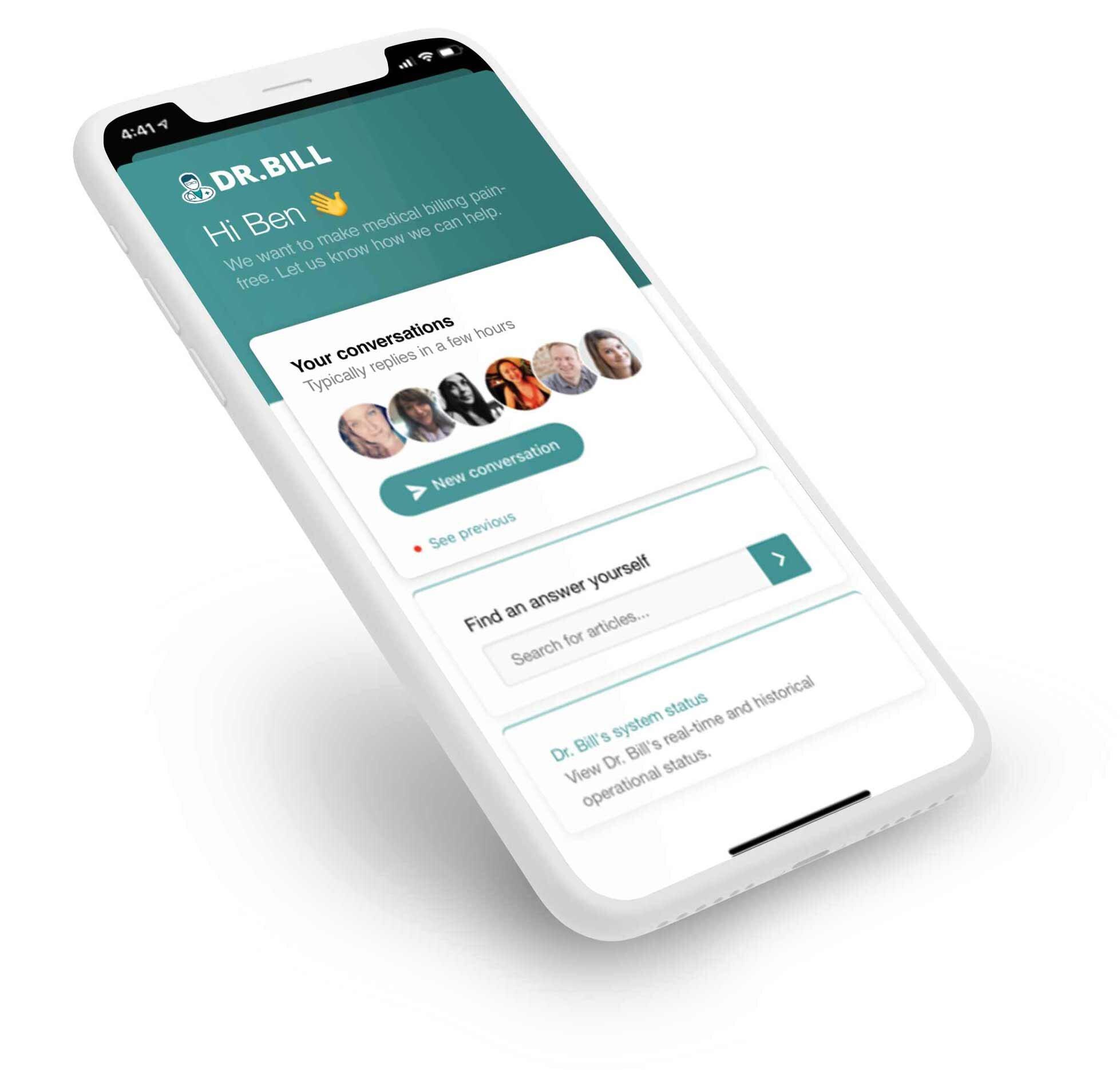 Dr. Bill app snapshot, new to billing