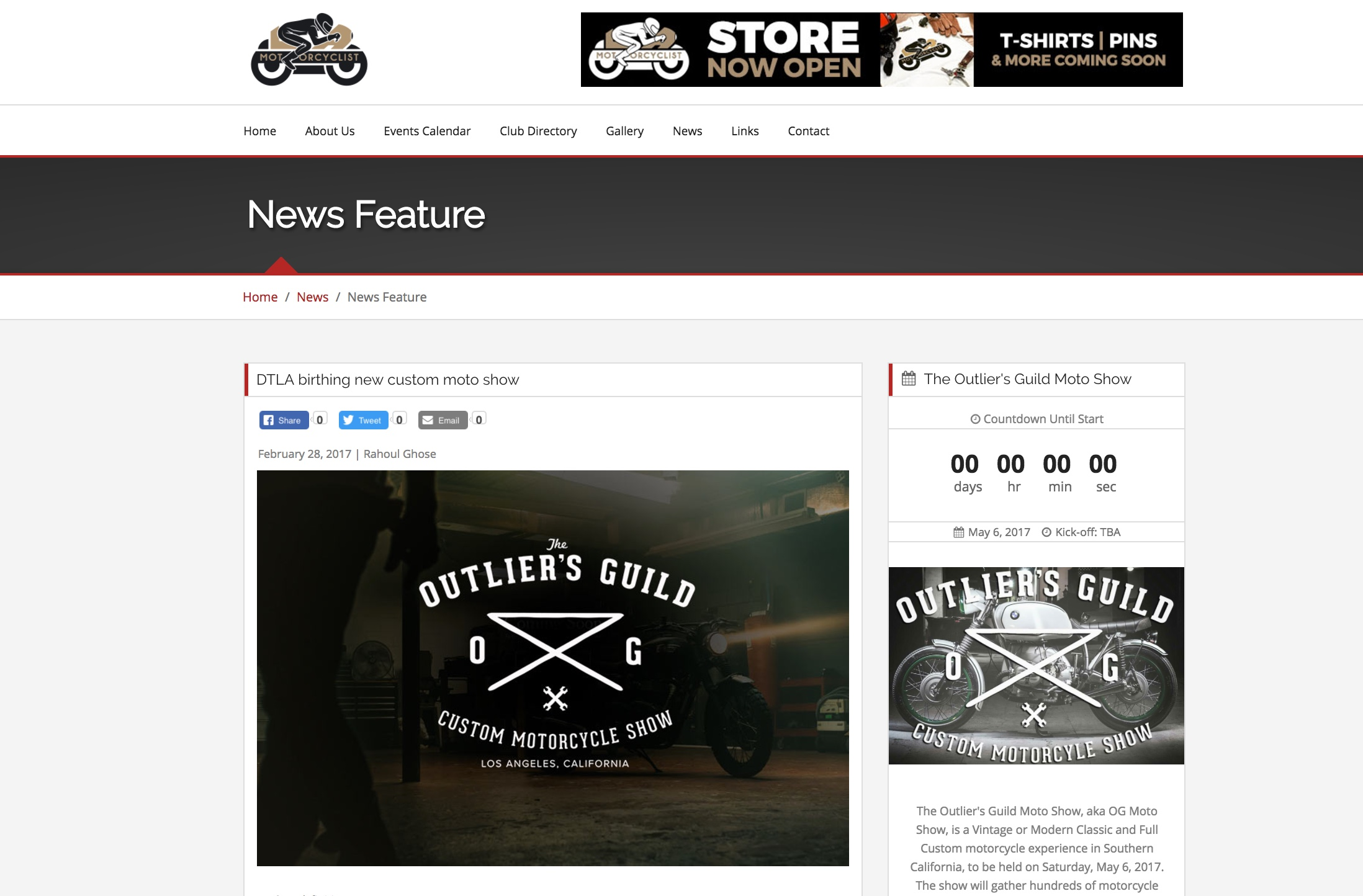 Announcement and Interview with co-founder Jay LaRossa on LA Motorcyclist