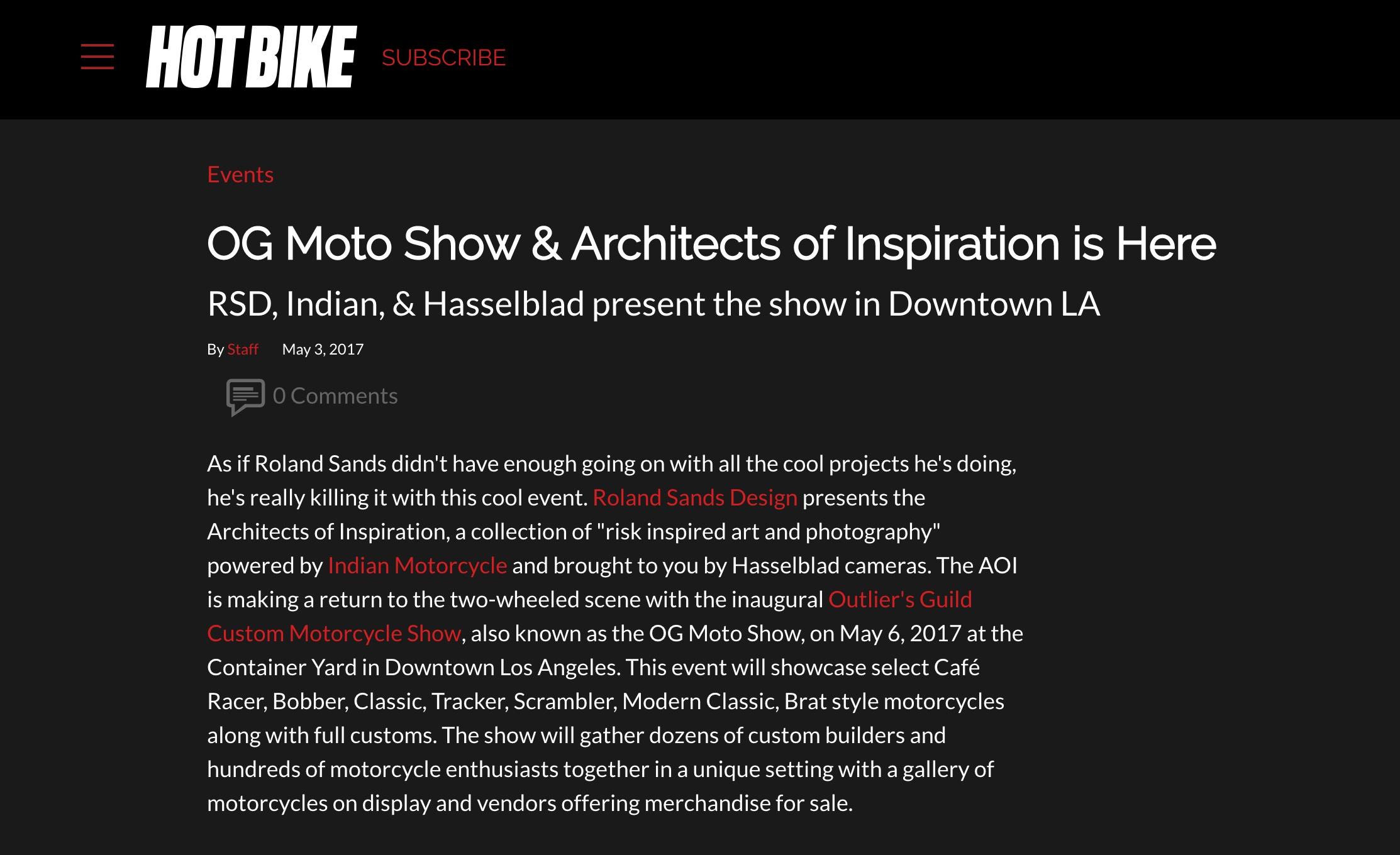 Announcement on Hot Bike
