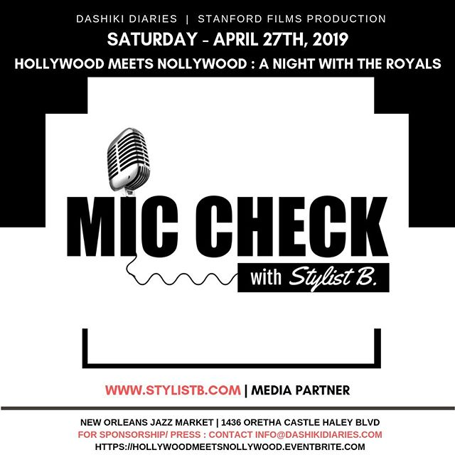 🔊 #NEWORLEANS 🔴 Mic Check with Stylist B (@theestylistb) will be joining us on the #Red #Carpet as a #Media Partner for the second annual Hollywood Meets Nollywood film premiere for #DifferentWorlds on Saturday, April 27th at the @NoJazzMarket — 🔴 @StanfordFilmsProduction and @DashikiDiaries invite you to the second edition of Hollywood Meets Nollywood: A Night with the Royals. 🔴 JOIN US on Saturday, April 27th for a red carpet affair, actors/ production panel and private screening of the most enchanting love story of 2019 'Different Worlds'. Proudly partnered with @NoJazzMarket. Doors open at 6:00 PM. ✨ GOLD BOX TICKETS ARE SOLD OUT ✨ DUE TO HIGH DEMAND, we have added EXTRA VIP TICKETS!!! ✨ General Admission Tickets are available as well GET YOUR TICKETS NOW!!! -- #HMN2019 #HollywoodMeetsNollywood #DifferentWorlds #DashikiDiaries #Entertainment #Media #Film #Movie #Premiere #Africa#African #Nigeria #Nigerian #Naija #NewOrleans #Louisiana #LA #NOLA #MicCheckWithStylistB #Repost #Viral #Trending #CityOfYes #NOLA300 #FollowYourNOLA -- LINK: https://hollywoodmeetsnollywood.eventbrite.com  For vendor information, email info@dashikidiaries.com