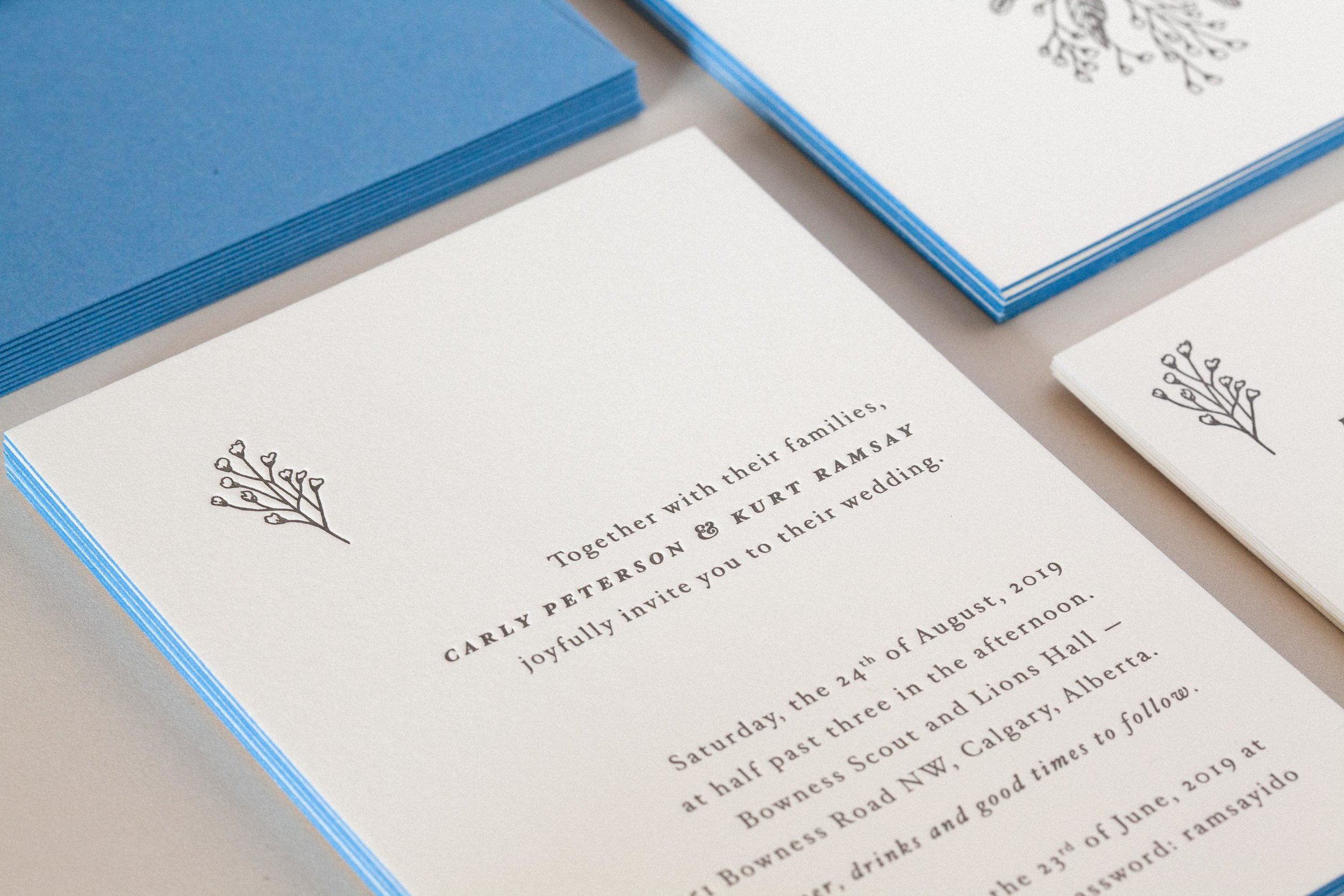Carly & Kurt Letterpress wedding invitations