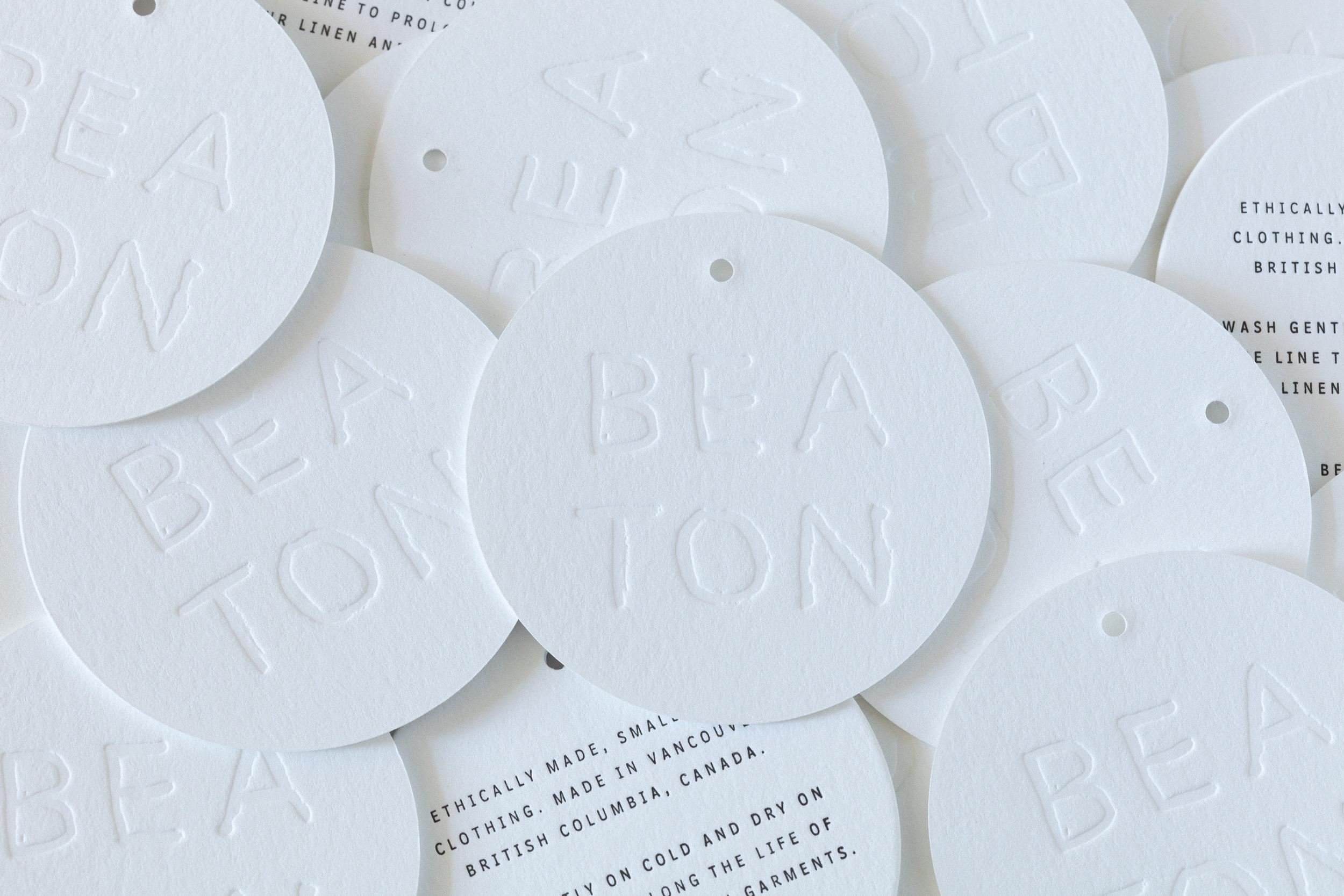 Custom letterpress printed Hang tags