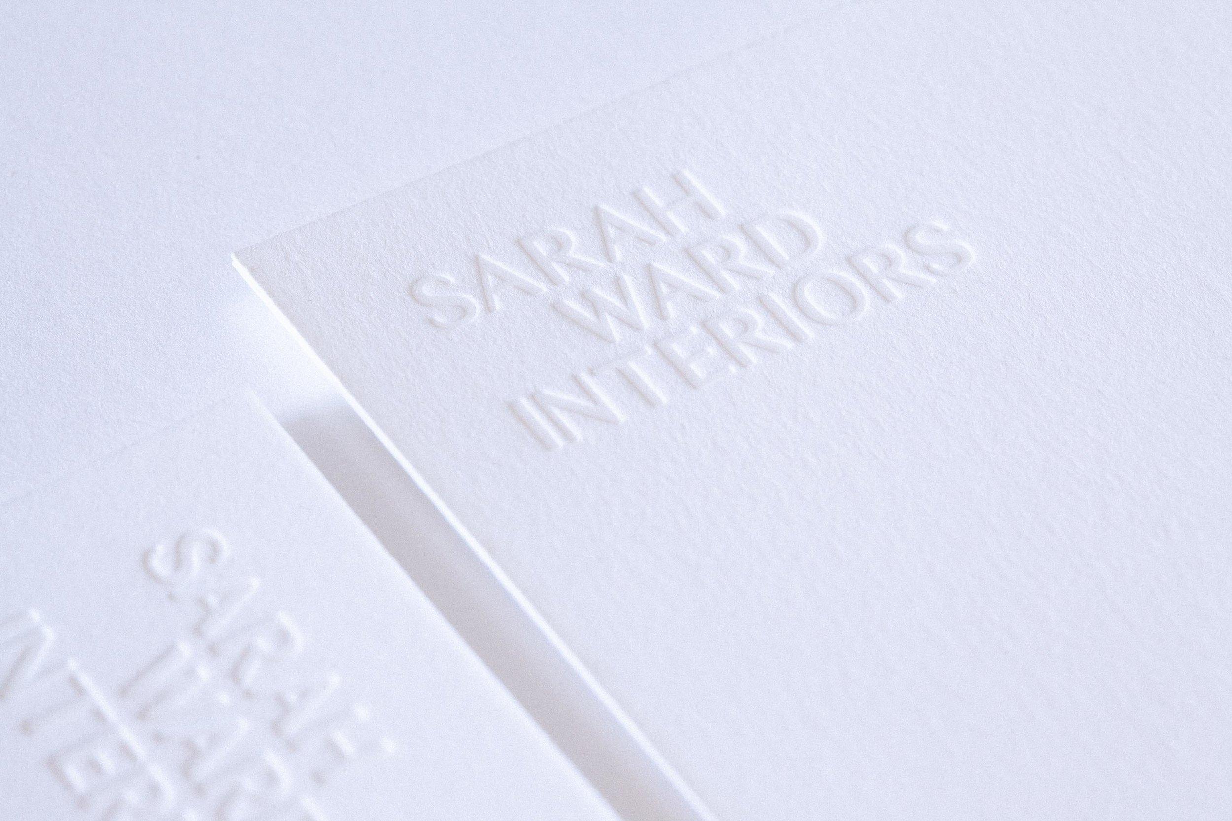 Sarah Ward Blind debossed note cards