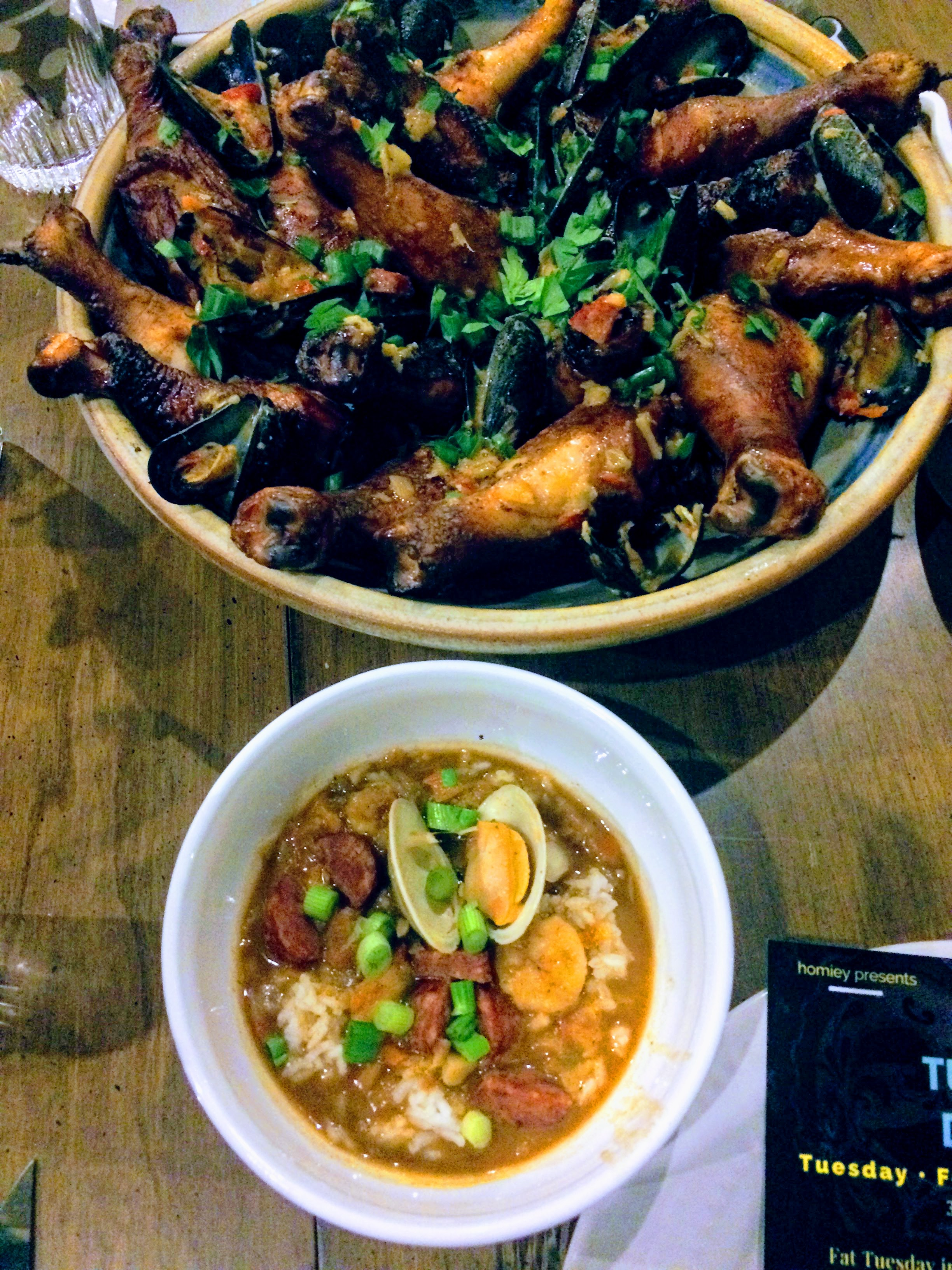 Slow smoked chicken with shrimp & andouille etouffee and gumbo.
