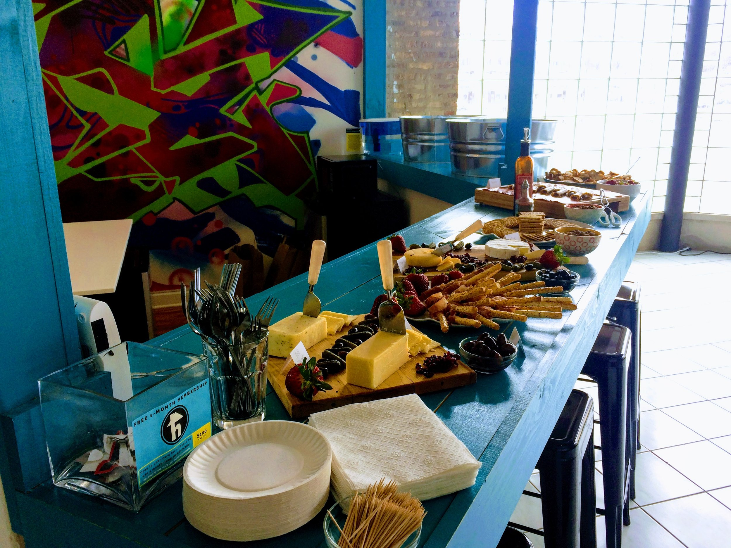 Starting things off right with a delicious spread of food and Lagunitas beer!