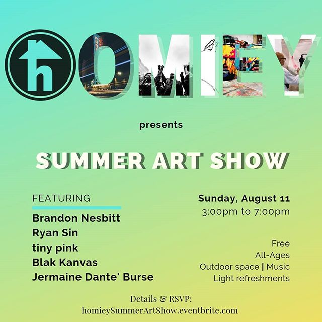 homiey Fruitvale presents the Summer Art Show this Sunday, 3pm to 7pm. Enjoy light refreshments, music, and games outside! . . #oaklandartists #oaklandevents #fruitvale #homieyartshow