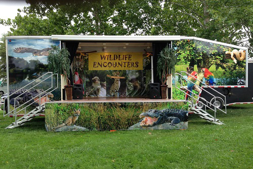 FESTIVALS & FAIRS - Our portable hydraulic stage complete with custom graphics, PA system, themed animal music and more is completely mobile for any event. Whether you want us for a day, weekend or a week we are prepared.