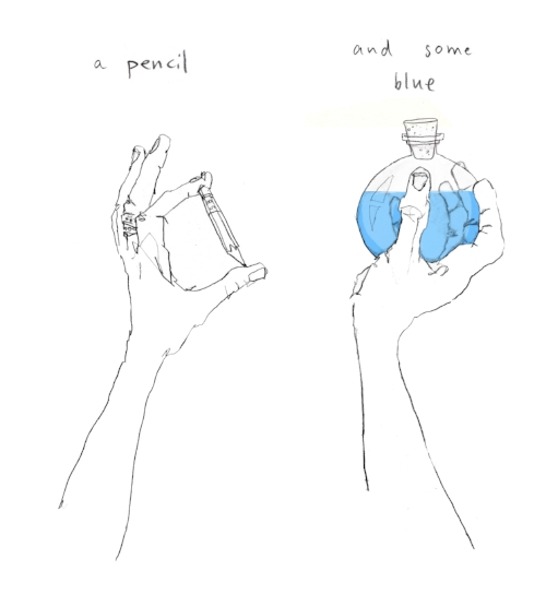 Pencil and some Blue. Alexandra Calisto. Art. hand, drawing, illustration, bottle