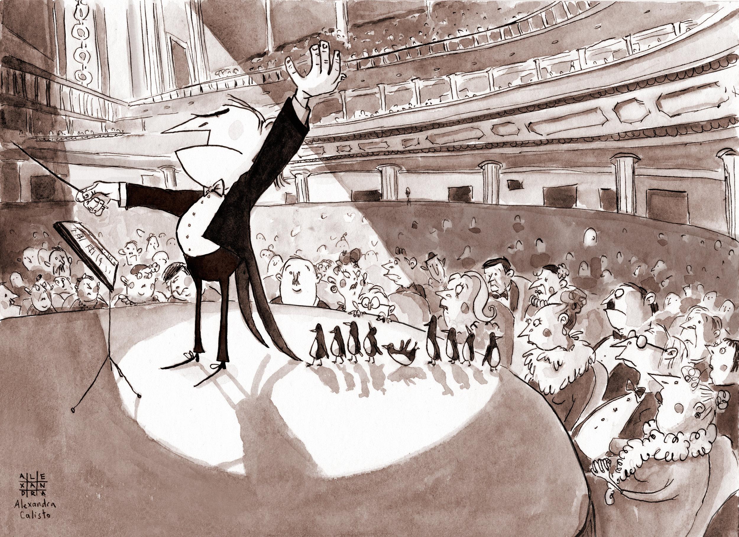 illustration, ink, inktober, tinta china, alexandra calisto, meastro, orchestra, penguins, cute, stage