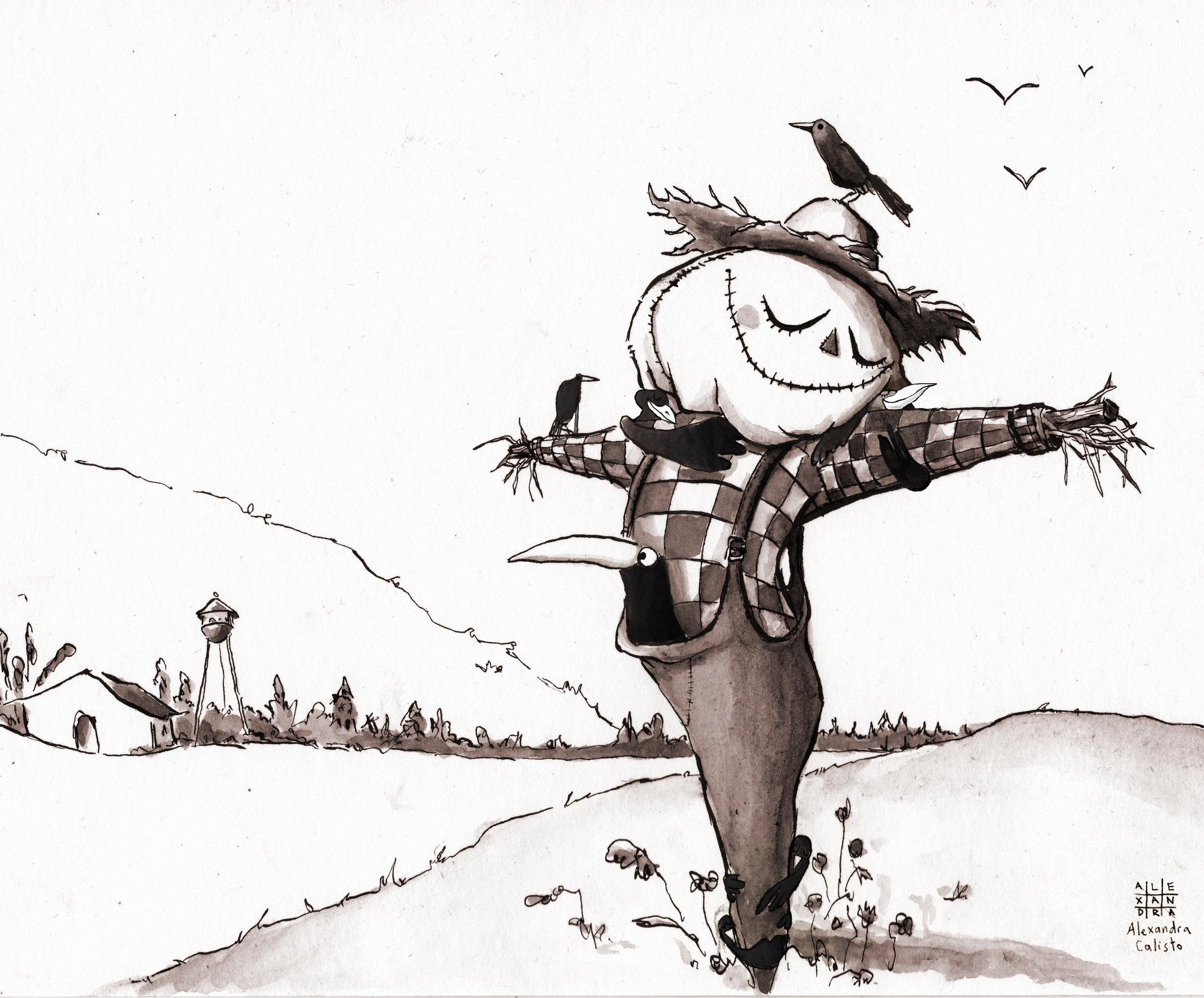 illustration, ink, inktober, tinta china, alexandra calisto, scarecrow