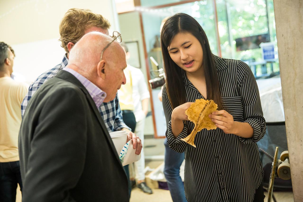 Explaining the laser cut tree design to  Professor John Hartman  and  Dr. Walter Herbst  at Northwestern University Engineering Design Innovation 2017 Bootcamp Presentation.
