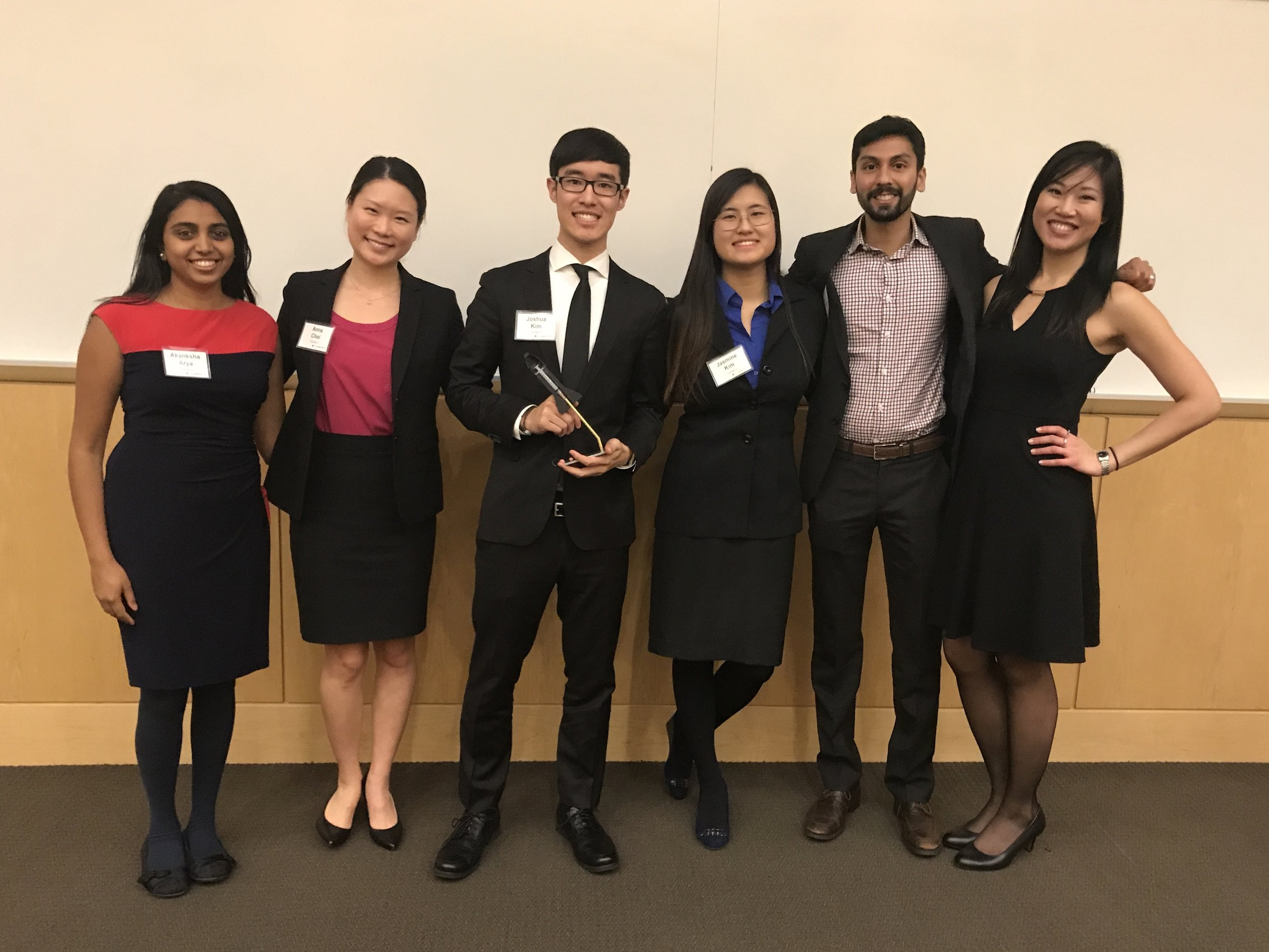 Left to Right :  Akanksha Arya  (NU Business),  Anna Choi  (NU Law),  Joshua Kim  (NU Engineering),  Jasmine Kim  (NU Engineering),  Nish Rastogi  (NU Business),  Tiffany Wen  (NU Medical)