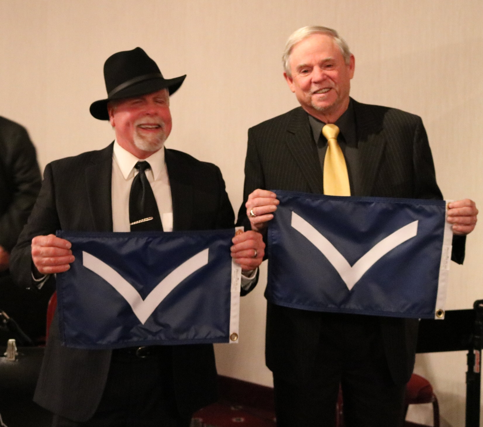 Commodore Don Petsch then recognized incoming Trustees James Altherr (L) and Dewey Hughes (R)
