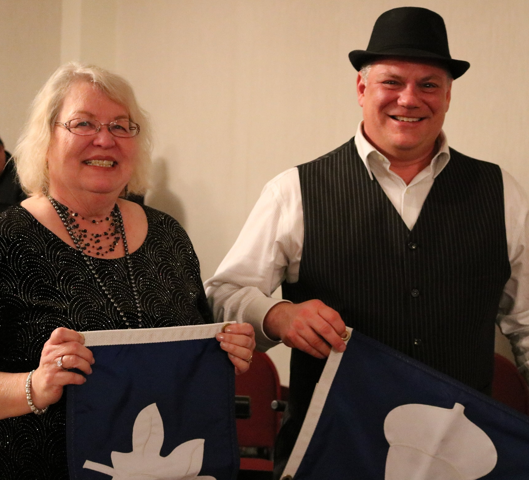 Commodore Don Petsch recognized 2018 Staff Officers Janice Hearst (L) as returning Secretary and Pete Rao as incoming Treasurer.