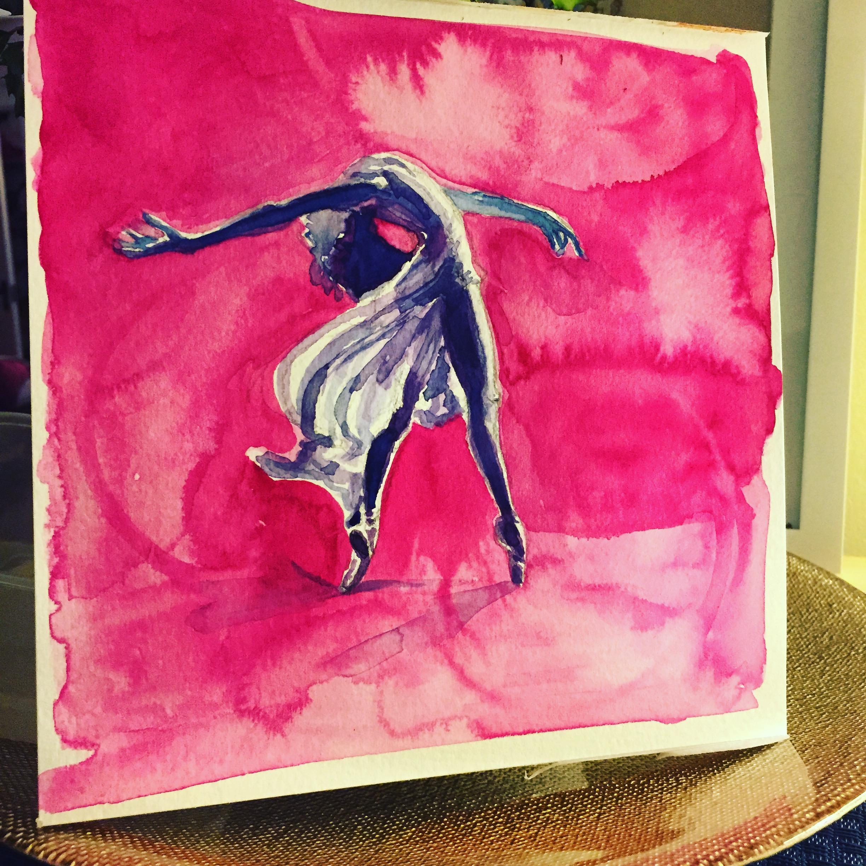"""Dancer #3 8""""x8"""" watercolor on paper © Miranda Loud 2018"""