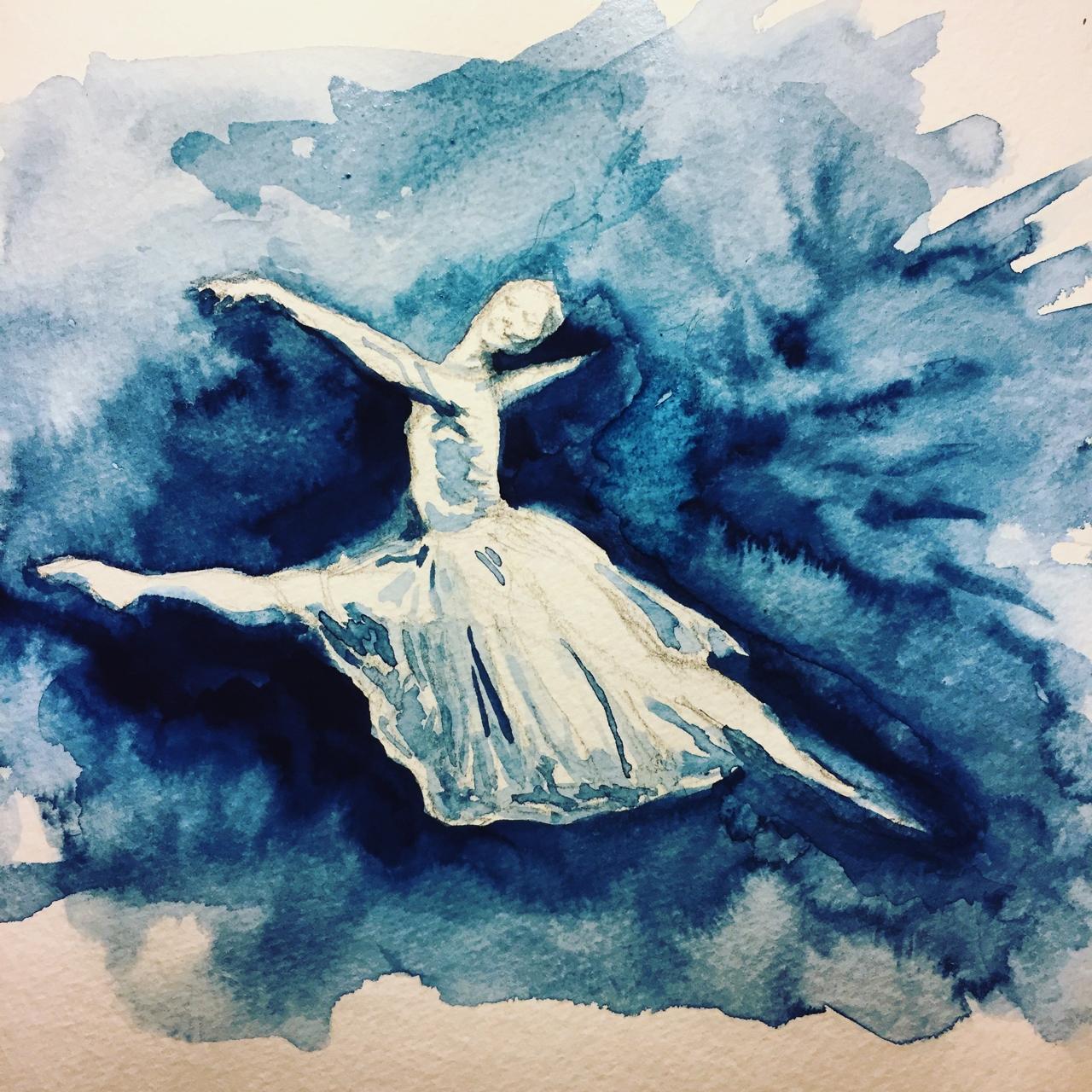 """Dancer #1 8""""x8"""" watercolor on paper © Miranda Loud 2018"""
