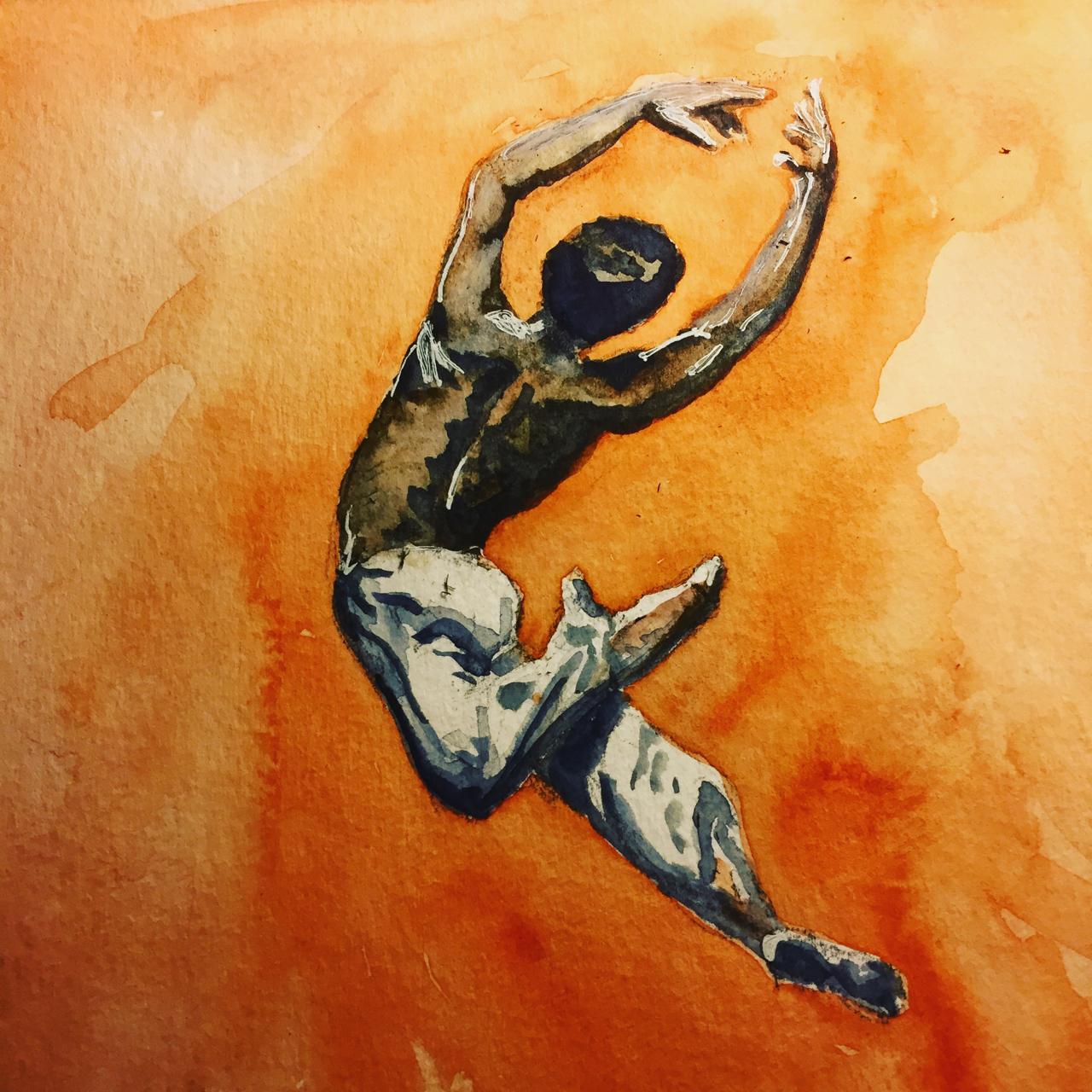 Dancer #4 watercolor 8x8 on paper