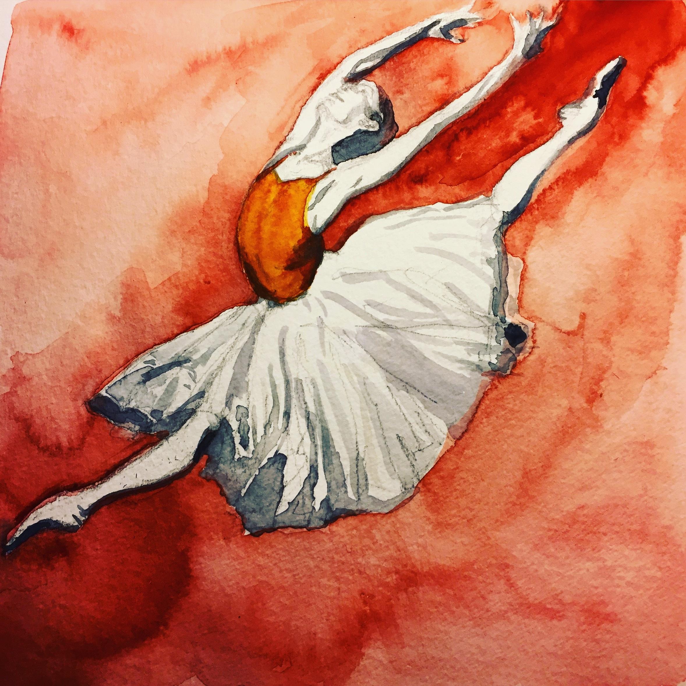 """Dancer #2 8""""x8"""" watercolor on paper © Miranda Loud 2018"""